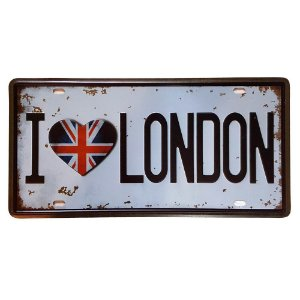 Placa de Metal Decorativa I Love London