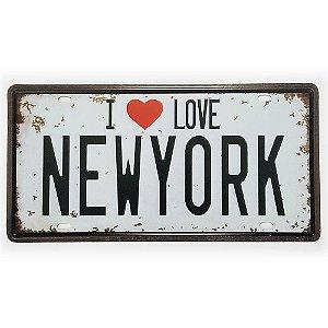Placa de Metal Decorativa I Love New York