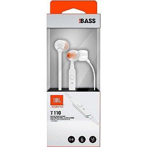 Fone Ouvido JBL T110 In Ear Branco