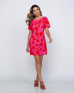 Vestido Chiara Viscose estampada rosa