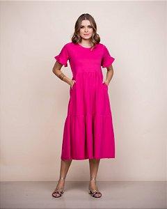 Vestido Malha gola careca Nani midi pink