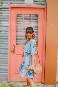 Vestido Thais Estampado Azul