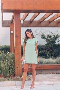 Vestido Beatriz Verde Mint em Crepe Lugano