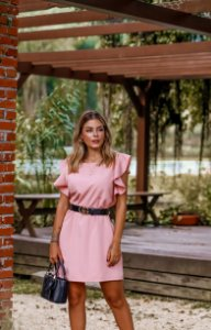 Vestido Beatriz Rosa Claro em Crepe Lugano