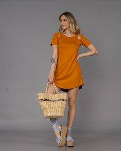 Vestido Moletinho Fenda Gabi Mostarda