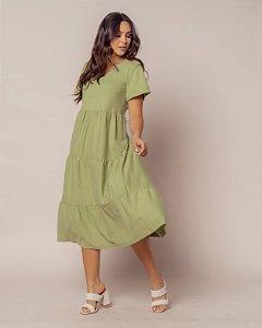 Vestido Malha Midi Verde Oliva Nani