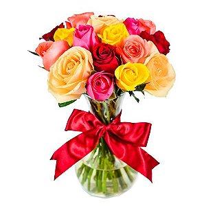 Buquê 24 rosas coloridas