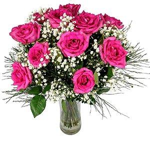Buquê Com Uma Dúzia de Rosas Pink