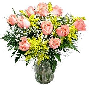 Buquê 1 Dúzia de Rosas rosa