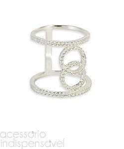 Anel Semijóia Inspired Chanel Prata 925 com Zircônia