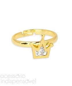 Anel Coroa de Falange com Zircônia Dourado Regulável