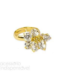 Anel Stones com Pedra de Zircônia Dourado Regulável