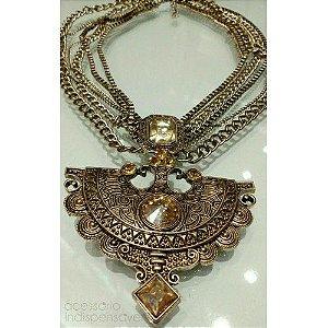 Colar Boho Imperial Filigrana Indiano Ouro Velho
