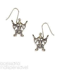 Brinco Boho Pingente Butterfly Pequeno Prata Velho