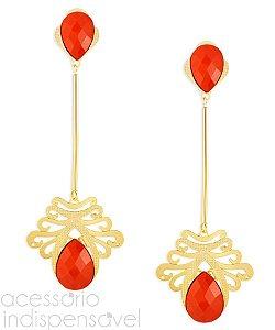 Brinco Rubi Pêndulo Luxo com Pedra Vermelha Grande Dourado