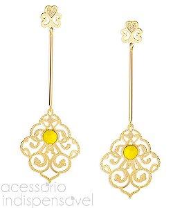 Brinco Renda Sun Pêndulo com Pedra Amarela Grande Dourado