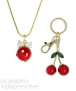 Kit Colar e Chaveiro Cherry Dourado