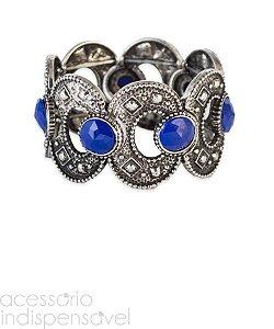 Bracelete Boho Elliptical Navy Blue Prata Velho