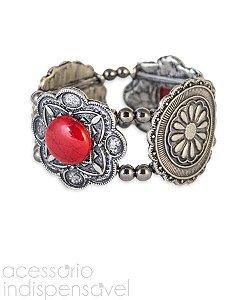 Bracelete Boho Flower Marsala Prata Velho