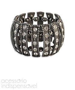 Bracelete Boho Puzzle com Pedras de Strass Prata Velho