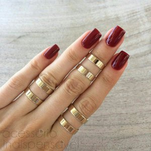 Kit com 3 anéis Vazados Lisos Dourados