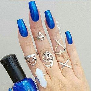 Kit com 6 Anéis Pedra Lápis Cristal Boho