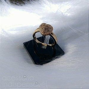 Anel Coração Dourado Cravejado de Strass