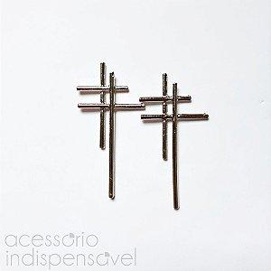 Brinco Crucifixo Duplo
