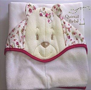 Toalha de banho com capuz e forrada (0,70 x 1,05) - meninas