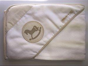 Toalha de banho com capuz e forrada (0,67 x 0,67 cm) - Cavalinho