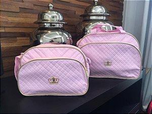 Conjunto de bolsa maternidade - Coroa rosa bebê
