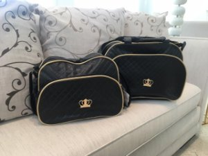 Conjunto de bolsa maternidade - Coroa Preta