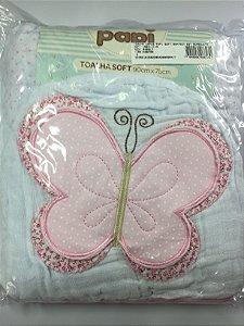 Toalha de fralda soft com capuz e bordado de borboleta 90x75