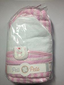 Toalha de banho esponja com capuz e bordada 70x80 - Rosa
