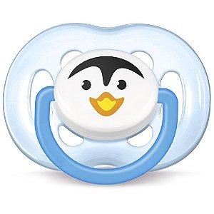 Chupeta Avent Freeflow Pinguim Meninos - 6 a 18 meses