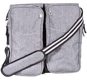 Bolsa Maternidade (Diaper Bag) com Berço Trocador - Cinza Mescla