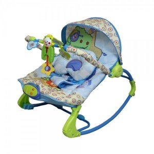 Cadeira de descanso vibratória musical Rocker Azul color Baby até 18kgs