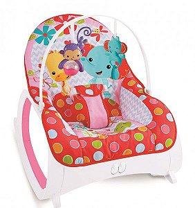 Cadeira de descanso vibratória musical e com balanço safari vermelha até 18kgs