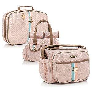 Conjunto Bolsa Maternidade Monarchy Rosa Kit 03 Peças - Lequiqui