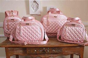 Conjunto de bolsas maternidade - Cristal Rosa chá
