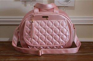 Bolsa Média maternidade- Coleção Cristal Rosa chá