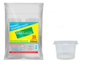 Rioplastic Potes e Tampas 500 ml c/ 25 un.