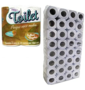 Toilet Fardo Papel Higiênico Folha Dupla 30 M Pct c/ 64 rolos