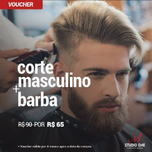 Barbearia Studio One - Corte Masculino + Barba  (Voucher)