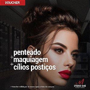 Penteado + Maquiagem + Cílios Postiços (Voucher)