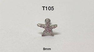 Tragus estrela folheado 8mm