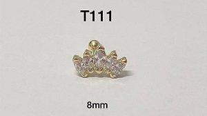 Tragus navete 5 pedras folheado dourado 8mm