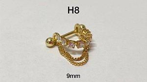 Hélix folheado dourado 9mm