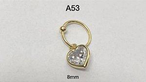 Argola torção folheado dourado com pingente pedra coração 8mm