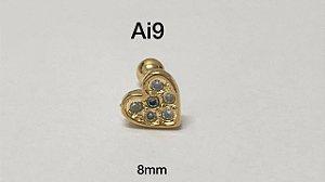 Tragus folheado dourado coração haste em aço cirúrgico 8mm (bolinha 4mm)